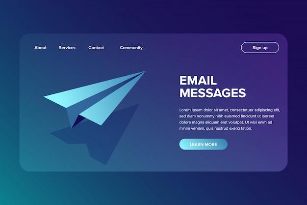 Correo electrónico isométrico y concepto de envío de mensajes