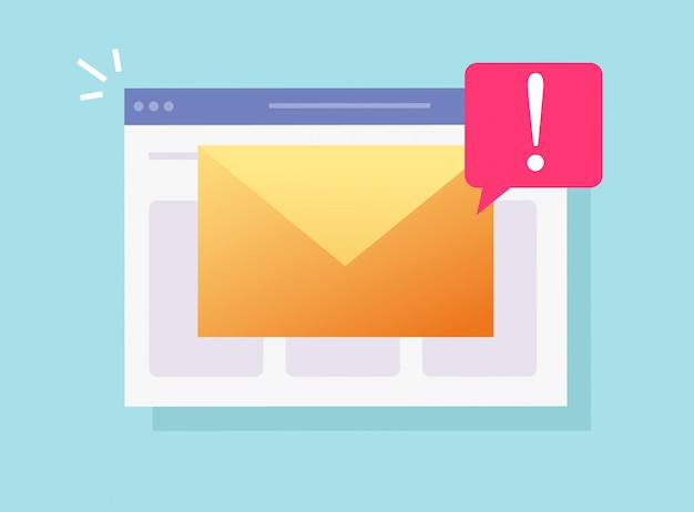 Correo electrónico malicioso spam en línea notificación importante en la página del sitio web o en la web de piratería informática alerta de riesgo icono de dibujos animados plana