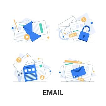 Correo electrónico y mensajería, campaña de marketing por correo electrónico, ilustración de diseño plano
