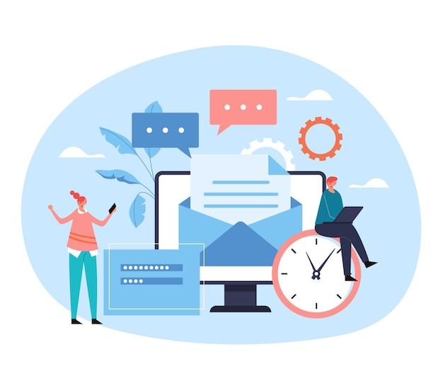 Correo electrónico móvil mensaje retroalimentación documento concepto de servicio de comunicación plana