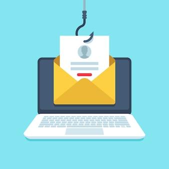 Correo electrónico de phishing. página de inicio de sesión de falsificación, correo electrónico colgado, ilustración de protección de privacidad de malware