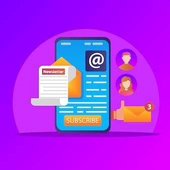 Correo electrónico en el teléfono móvil, marketing de boletines móviles, marketing por correo electrónico comercial