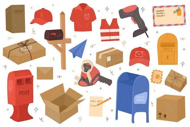 Correo postal, herramientas de envío, cajas y cartas. vector ilustración dibujada a mano.