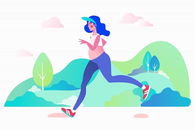 Correr embarazada, trotar concepto al aire libre