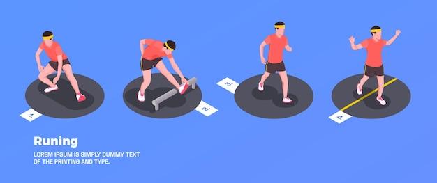 Correr y entrenar personas con símbolos de fitness.