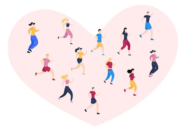 Correr o correr deportes ilustración de fondo hombres y mujeres para cuerpo activo, estilo de vida saludable, actividades al aire libre