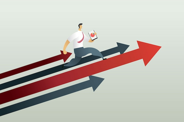 Corriendo hacia el camino para lograr un objetivo, concepto de negocio