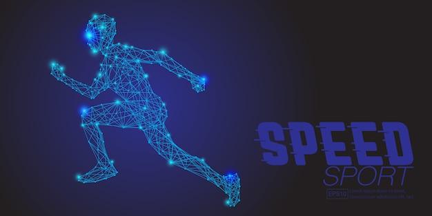 Corriendo humano desde abstracto azul poligonal