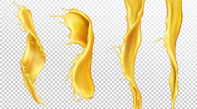 Corrientes de jugo de naranja con gotas, salpicaduras de líquidos