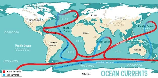 Corrientes oceánicas en el fondo del mapa del mundo