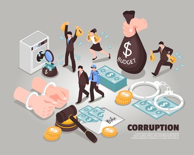 Corrupción isométrica iconos incluidos que simbolizan lavado de dinero soborno malversación de fondos juez corrupto político corrupto