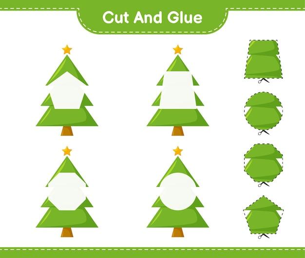 Corta y pega, corta partes del árbol de navidad y pégalas. juego educativo para niños, hoja de trabajo imprimible