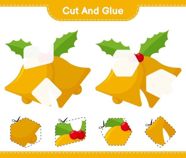 Corta y pega, corta partes de christmas bell y pégalas. juego educativo para niños, hoja de trabajo imprimible