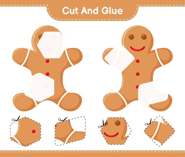Corta y pega, corta partes de gingerbread man y pégalas. juego educativo para niños, hoja de trabajo imprimible