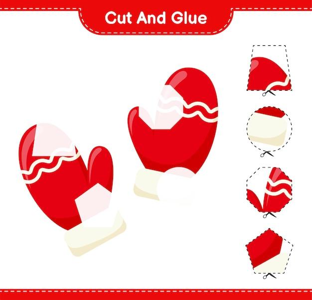 Corta y pega, corta partes de mitones y pégalas. juego educativo para niños, hoja de trabajo imprimible