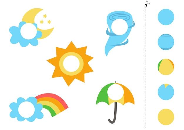 Corta y pega partes de elementos meteorológicos. juego de lógica educativo para niños. juego de correspondencias.