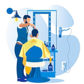 Cortador de pelo profesional que da corte de pelo al cliente