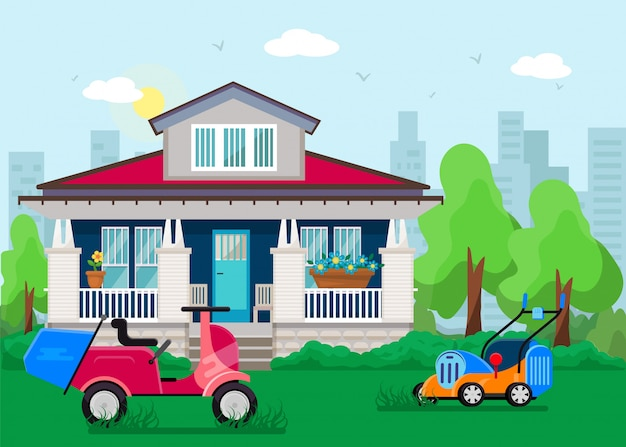 Cortadoras de césped en el césped en frente del patio de la ilustración hermosa casa privada. motocicleta y dos cortadoras de césped eléctricas, máquinas para el cuidado del jardín, equipos para el hogar.