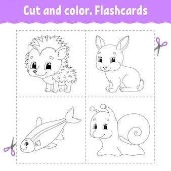 Cortar y colorear. juego de tarjetas. libro para colorear para niños.