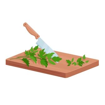 Cortar las hierbas verdes de perejil. tabla de cortar, cuchillo y ramas frescas de vegetación para cocinar alimentos