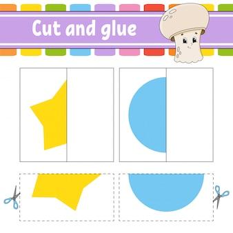 Cortar y jugar. juego de papel con pegamento. tarjetas flash rompecabezas de colores. hoja de trabajo de desarrollo educativo. página de actividades.