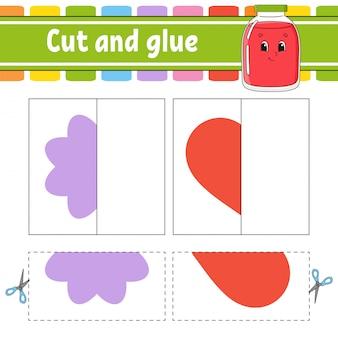 Cortar y jugar. juego de papel con pegamento. tarjetas flash rompecabezas de colores. hoja de trabajo de desarrollo educativo.