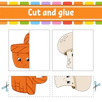 Cortar y jugar. juego de papel con pegamento. tarjetas flash