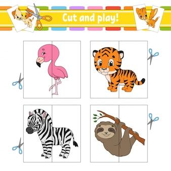 Cortar y jugar. tarjetas flash rompecabezas de colores. hoja de trabajo de desarrollo educativo. página de actividades. juego para niños.