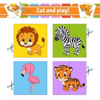 Cortar y jugar. tarjetas flash rompecabezas de colores. hoja de trabajo de desarrollo educativo. página de actividades.