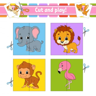 Cortar y jugar. tarjetas flash rompecabezas de colores. hoja de trabajo de desarrollo educativo