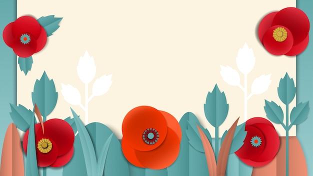 Cortar la pancarta floral de papel con amapolas.