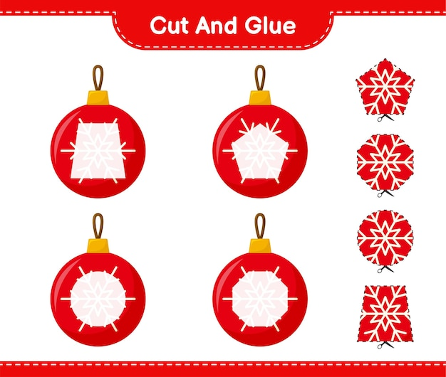 Cortar y pegar, cortar partes de bolas de navidad y pegarlas. juego educativo para niños, hoja de trabajo imprimible