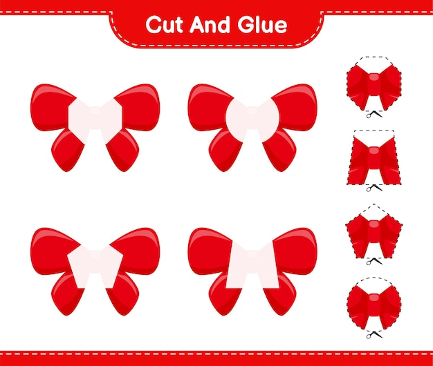 Cortar y pegar, cortar partes de ribbons y pegarlas. juego educativo para niños, hoja de trabajo imprimible