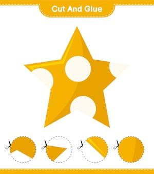Cortar y pegar, cortar partes de stars y pegarlas. juego educativo para niños, hoja de trabajo imprimible