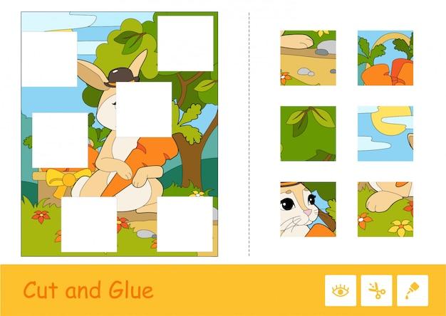 Cortar y pegar el juego de niños de aprendizaje vectorial. coloridos rompecabezas de lindo conejito con sombrero recogiendo zanahorias en un bosque.