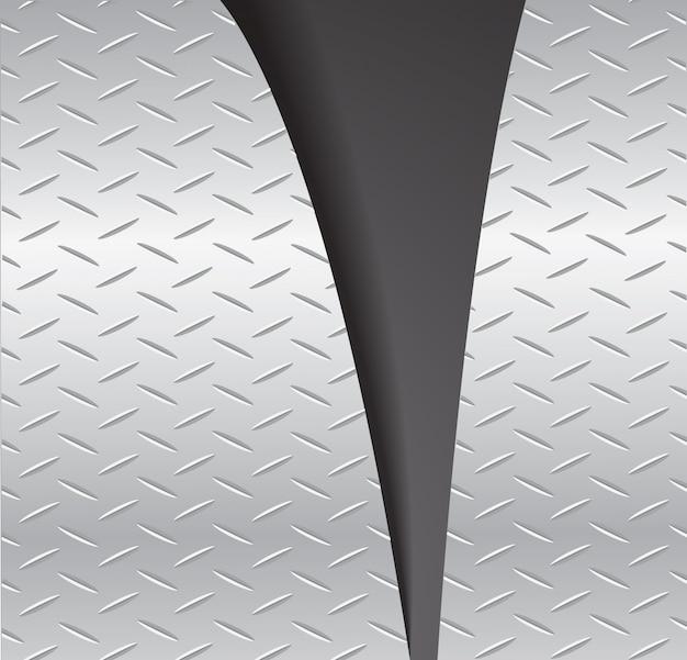 Cortar la placa de metal rasgado y el espacio de fondo negro