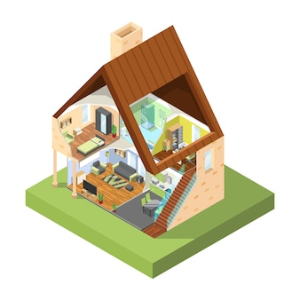 Corte de la casa isométrica. interior de casa moderna con diferentes habitaciones con cuadros de muebles.
