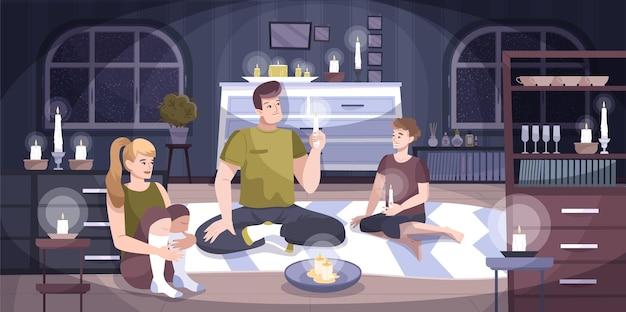 Corte de energía composición de la casa una familia de tres se sienta en un apartamento con velas porque no hay luz en la ilustración de casa