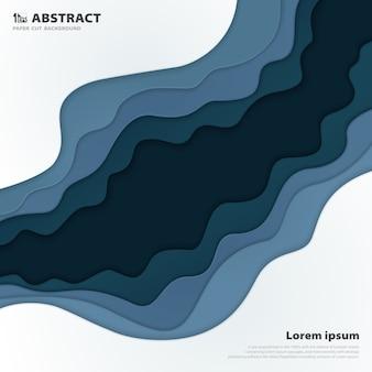 Corte de papel abstracto de fondo de línea de raya azul.