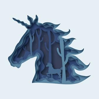 Corte de papel abstracto de unicornio.