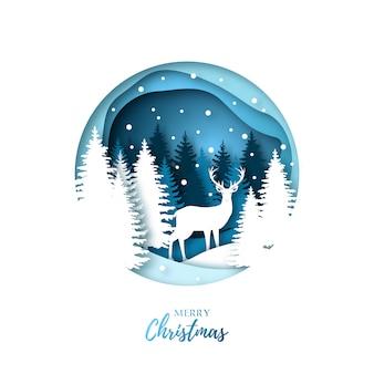 Corte de papel ciervos en bosque de invierno.