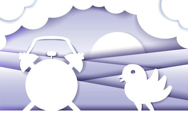 Corte de papel de composición matutina. origami en capas vectoriales 3d. alarma, pájaro, amanecer. idea de diseño de cartel