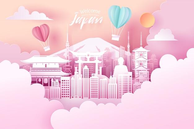 Corte de papel del concepto histórico de japón, viajes y turismo.
