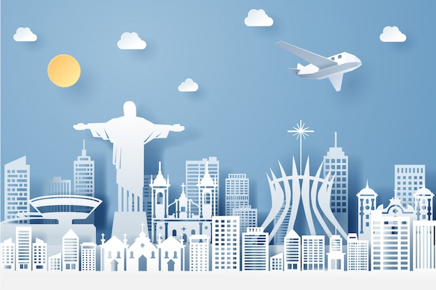 Corte de papel de concepto hito de brasil, viajes y turismo
