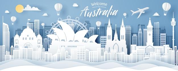 Corte de papel del concepto de hito, viajes y turismo de australia.