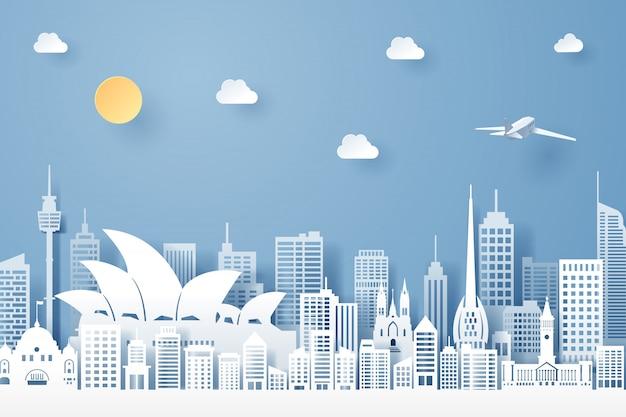 Corte de papel del concepto de hito, viajes y turismo de australia