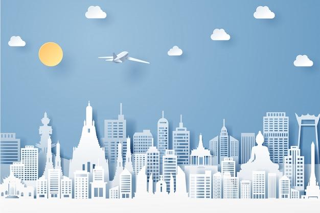 Corte de papel del concepto de hito, viajes y turismo de tailandia