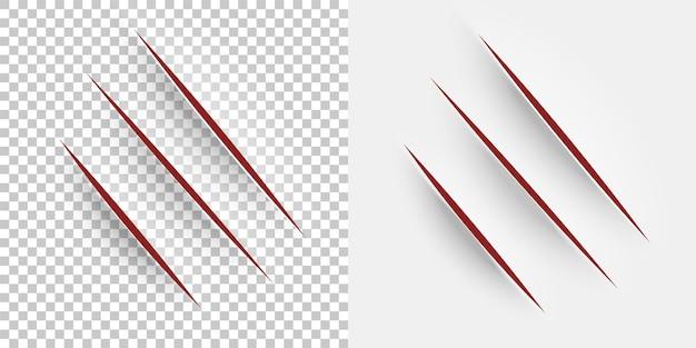 Corte de papel corte realista con un cuchillo de oficina en hoja de papel garras arañazos de animales incisión vectorial