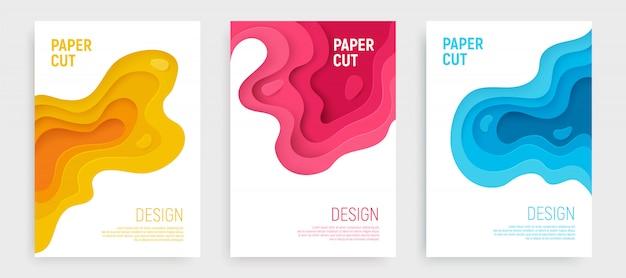 Corte de papel cpver con capas de ondas azules, rosas y amarillas.