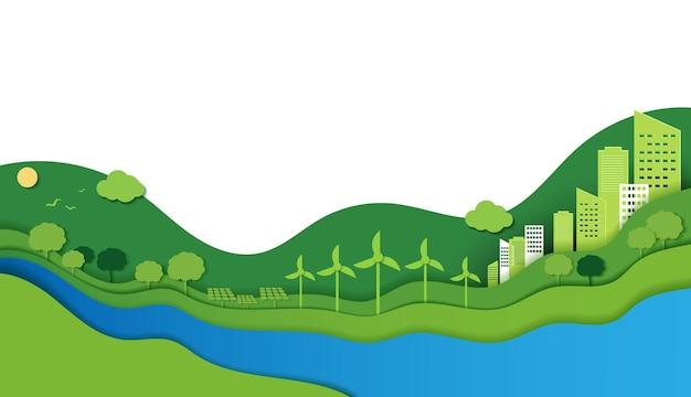 Corte de papel de la ecología y la conservación del medio ambiente concepto de idea creativa ciudad verde eco urbana